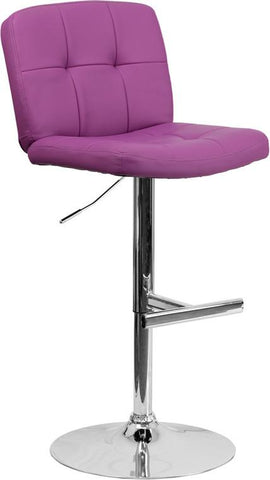 Flash Furniture DS-829-PUR-GG Contemporary Tufted Purple Vinyl Adjustable Height Bar Stool with Chrome Base - Peazz Furniture