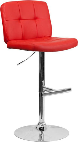 Flash Furniture DS-829-RED-GG Contemporary Tufted Red Vinyl Adjustable Height Bar Stool with Chrome Base - Peazz Furniture
