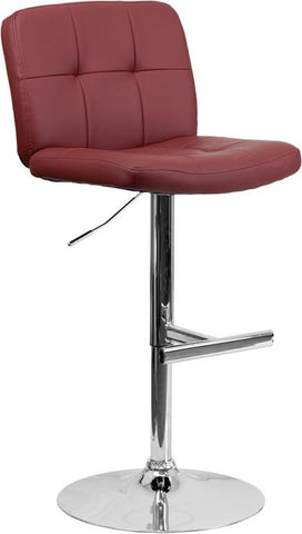 Flash Furniture DS-829-BURG-GG Contemporary Tufted Burgundy Vinyl Adjustable Height Bar Stool with Chrome Base - Peazz Furniture