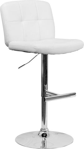 Flash Furniture DS-829-WH-GG Contemporary Tufted White Vinyl Adjustable Height Bar Stool with Chrome Base - Peazz Furniture