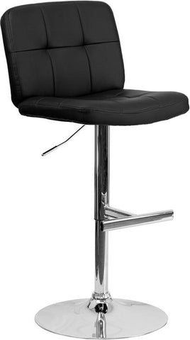 Flash Furniture DS-829-BK-GG Contemporary Tufted Black Vinyl Adjustable Height Bar Stool with Chrome Base - Peazz Furniture