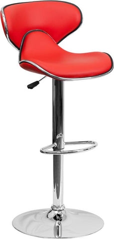 Flash Furniture DS-815-RED-GG Contemporary Cozy Mid-Back Red Vinyl Adjustable Height Bar Stool with Chrome Base - Peazz Furniture