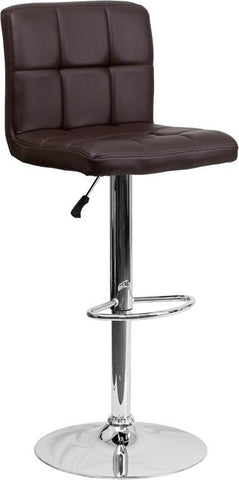 Flash Furniture DS-810-MOD-BRN-GG Contemporary Brown Quilted Vinyl Adjustable Height Bar Stool with Chrome Base - Peazz Furniture