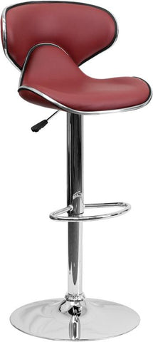 Flash Furniture DS-815-BURG-GG Contemporary Cozy Mid-Back Burgundy Vinyl Adjustable Height Bar Stool with Chrome Base - Peazz Furniture
