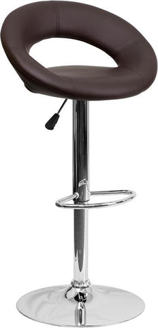 Flash Furniture DS-811-BRN-GG Contemporary Brown Vinyl Rounded Back Adjustable Height Bar Stool with Chrome Base - Peazz Furniture