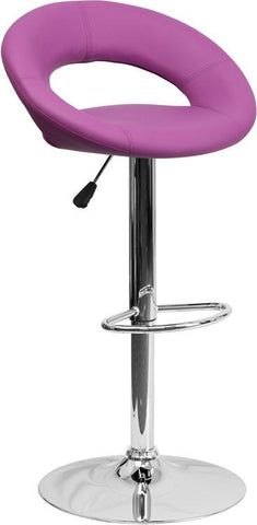 Flash Furniture DS-811-PUR-GG Contemporary Purple Vinyl Rounded Back Adjustable Height Bar Stool with Chrome Base - Peazz Furniture