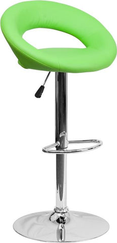 Flash Furniture DS-811-GRN-GG Contemporary Green Vinyl Rounded Back Adjustable Height Bar Stool with Chrome Base - Peazz Furniture