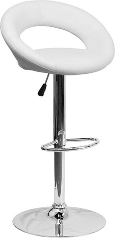 Flash Furniture DS-811-WH-GG Contemporary White Vinyl Rounded Back Adjustable Height Bar Stool with Chrome Base - Peazz Furniture