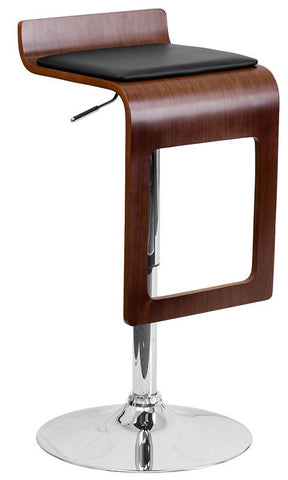 Flash Furniture SD-2075-1-WAL-GG Walnut Bentwood Adjustable Height Bar Stool with Black Vinyl Seat and Drop Frame - Peazz Furniture