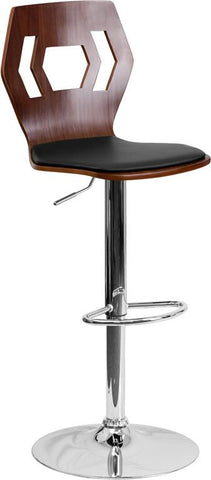 Flash Furniture SD-2162-WAL-GG Walnut Bentwood Adjustable Height Bar Stool with Black Vinyl Seat and Cutout Back - Peazz Furniture