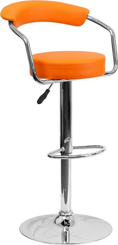Flash Furniture CH-TC3-1060-ORG-GG Contemporary Orange Vinyl Adjustable Height Bar Stool with Arms and Chrome Base - Peazz Furniture