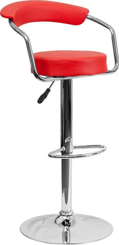 Flash Furniture CH-TC3-1060-RED-GG Contemporary Red Vinyl Adjustable Height Bar Stool with Arms and Chrome Base - Peazz Furniture