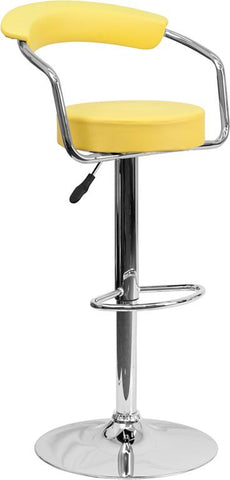 Flash Furniture CH-TC3-1060-YEL-GG Contemporary Yellow Vinyl Adjustable Height Bar Stool with Arms and Chrome Base - Peazz Furniture