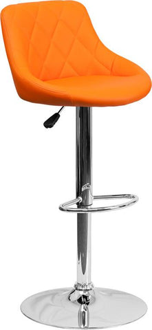 Flash Furniture CH-82028A-ORG-GG Contemporary Orange Vinyl Bucket Seat Adjustable Height Bar Stool with Chrome Base - Peazz Furniture