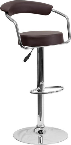 Flash Furniture CH-TC3-1060-BRN-GG Contemporary Brown Vinyl Adjustable Height Bar Stool with Arms and Chrome Base - Peazz Furniture
