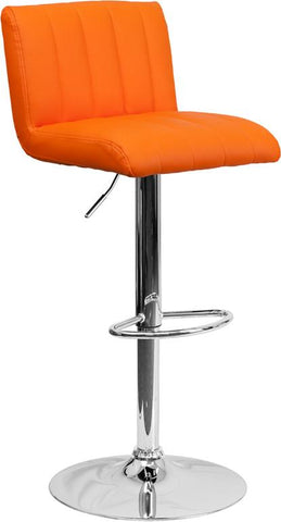 Flash Furniture CH-112010-ORG-GG Contemporary Orange Vinyl Adjustable Height Bar Stool with Chrome Base - Peazz Furniture