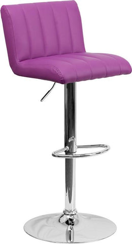 Flash Furniture CH-112010-PUR-GG Contemporary Purple Vinyl Adjustable Height Bar Stool with Chrome Base - Peazz Furniture
