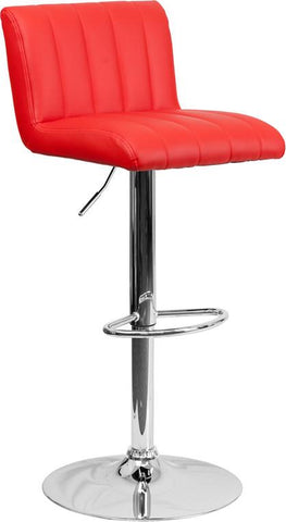 Flash Furniture CH-112010-RED-GG Contemporary Red Vinyl Adjustable Height Bar Stool with Chrome Base - Peazz Furniture