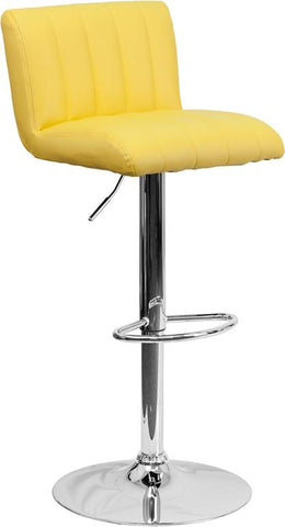 Flash Furniture CH-112010-YEL-GG Contemporary Yellow Vinyl Adjustable Height Bar Stool with Chrome Base - Peazz Furniture