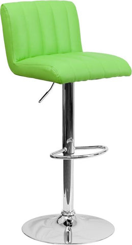 Flash Furniture CH-112010-GRN-GG Contemporary Green Vinyl Adjustable Height Bar Stool with Chrome Base - Peazz Furniture