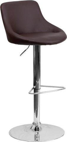 Flash Furniture CH-82028-MOD-BRN-GG Contemporary Brown Vinyl Bucket Seat Adjustable Height Bar Stool with Chrome Base - Peazz Furniture