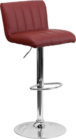 Flash Furniture CH-112010-BURG-GG Contemporary Burgundy Vinyl Adjustable Height Bar Stool with Chrome Base - Peazz Furniture
