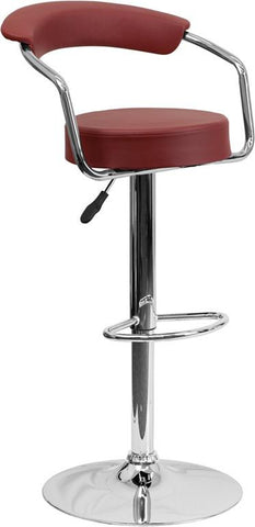 Flash Furniture CH-TC3-1060-BURG-GG Contemporary Burgundy Vinyl Adjustable Height Bar Stool with Arms and Chrome Base - Peazz Furniture