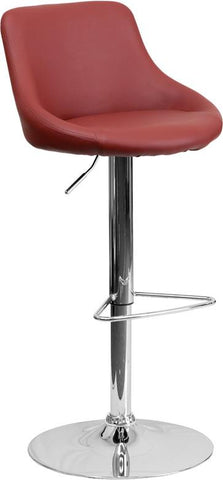 Flash Furniture CH-82028-MOD-BURG-GG Contemporary Burgundy Vinyl Bucket Seat Adjustable Height Bar Stool with Chrome Base - Peazz Furniture