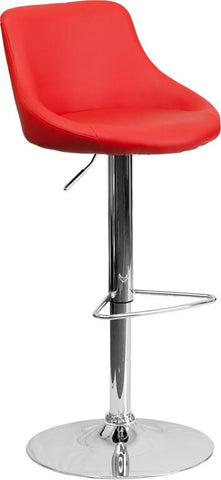 Flash Furniture CH-82028-MOD-RED-GG Contemporary Red Vinyl Bucket Seat Adjustable Height Bar Stool with Chrome Base - Peazz Furniture