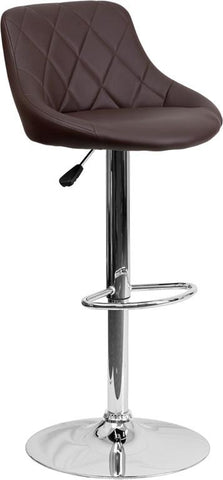 Flash Furniture CH-82028A-BRN-GG Contemporary Brown Vinyl Bucket Seat Adjustable Height Bar Stool with Chrome Base - Peazz Furniture