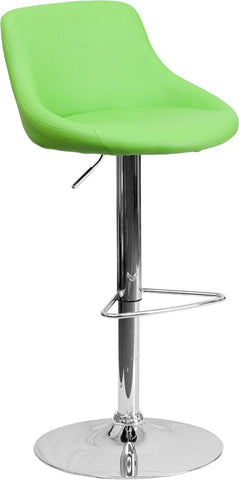Flash Furniture CH-82028-MOD-GRN-GG Contemporary Green Vinyl Bucket Seat Adjustable Height Bar Stool with Chrome Base - Peazz Furniture