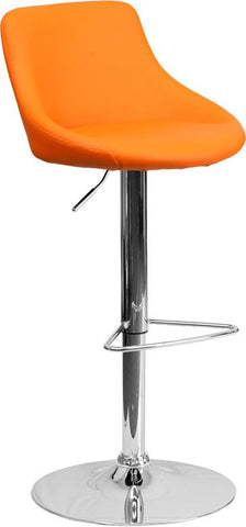 Flash Furniture CH-82028-MOD-ORG-GG Contemporary Orange Vinyl Bucket Seat Adjustable Height Bar Stool with Chrome Base - Peazz Furniture