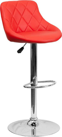Flash Furniture CH-82028A-RED-GG Contemporary Red Vinyl Bucket Seat Adjustable Height Bar Stool with Chrome Base - Peazz Furniture