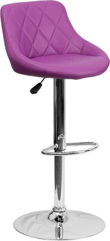 Flash Furniture CH-82028A-PUR-GG Contemporary Purple Vinyl Bucket Seat Adjustable Height Bar Stool with Chrome Base - Peazz Furniture
