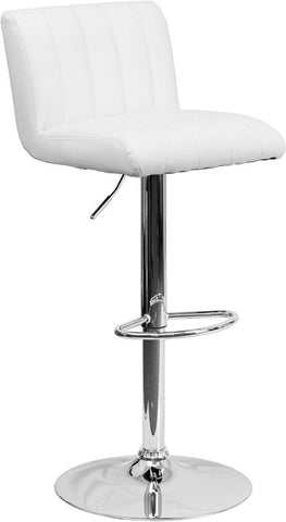 Flash Furniture CH-112010-WH-GG Contemporary White Vinyl Adjustable Height Bar Stool with Chrome Base - Peazz Furniture