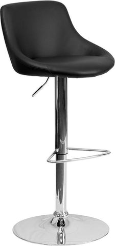 Flash Furniture CH-82028-MOD-BK-GG Contemporary Black Vinyl Bucket Seat Adjustable Height Bar Stool with Chrome Base - Peazz Furniture
