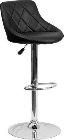 Flash Furniture CH-82028A-BK-GG Contemporary Black Vinyl Bucket Seat Adjustable Height Bar Stool with Chrome Base - Peazz Furniture