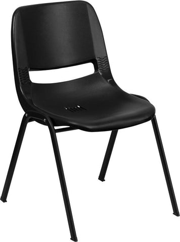 Flash Furniture RUT-14-PDR-BLACK-GG HERCULES Series 440 lb. Capacity Black Ergonomic Shell Stack Chair with Black Frame and 14'' Seat Height - Peazz Furniture
