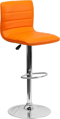 Flash Furniture CH-92023-1-ORG-GG Contemporary Orange Vinyl Adjustable Height Bar Stool with Chrome Base - Peazz Furniture