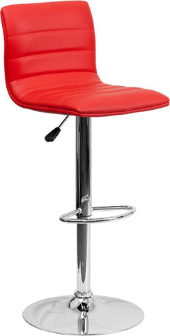 Flash Furniture CH-92023-1-RED-GG Contemporary Red Vinyl Adjustable Height Bar Stool with Chrome Base - Peazz Furniture