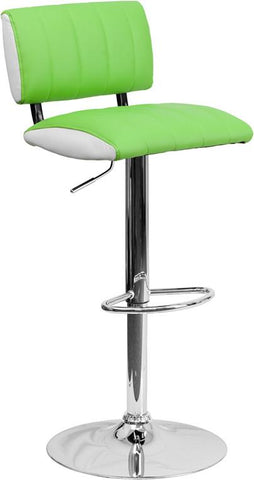 Flash Furniture CH-122150-GRN-GG Contemporary Two Tone Green & White Vinyl Adjustable Height Bar Stool with Chrome Base - Peazz Furniture