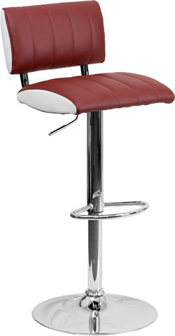 Flash Furniture CH-122150-BURG-GG Contemporary Two Tone Burgundy & White Vinyl Adjustable Height Bar Stool with Chrome Base - Peazz Furniture