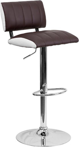 Flash Furniture CH-122150-BRN-GG Contemporary Two Tone Brown & White Vinyl Adjustable Height Bar Stool with Chrome Base - Peazz Furniture