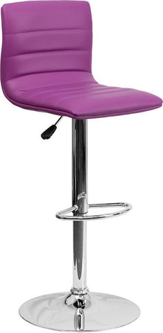 Flash Furniture CH-92023-1-PUR-GG Contemporary Purple Vinyl Adjustable Height Bar Stool with Chrome Base - Peazz Furniture