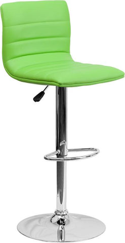 Flash Furniture CH-92023-1-GRN-GG Contemporary Green Vinyl Adjustable Height Bar Stool with Chrome Base - Peazz Furniture