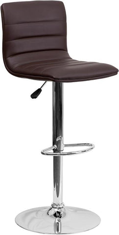 Flash Furniture CH-92023-1-BRN-GG Contemporary Brown Vinyl Adjustable Height Bar Stool with Chrome Base - Peazz Furniture