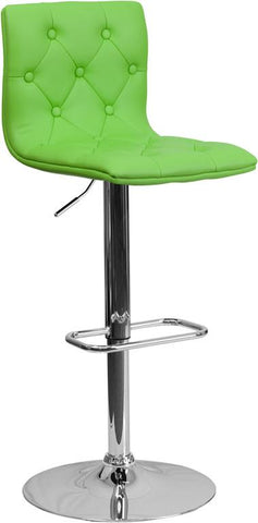 Flash Furniture CH-112080-GRN-GG Contemporary Tufted Green Vinyl Adjustable Height Bar Stool with Chrome Base - Peazz Furniture