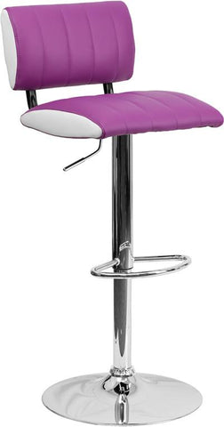 Flash Furniture CH-122150-PUR-GG Contemporary Two Tone Purple & White Vinyl Adjustable Height Bar Stool with Chrome Base - Peazz Furniture