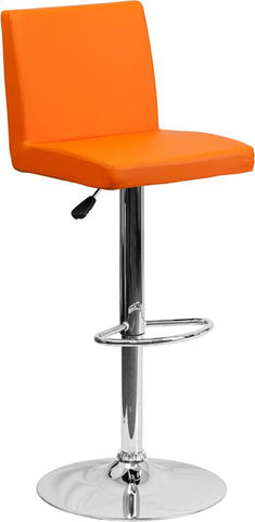 Flash Furniture CH-92066-ORG-GG Contemporary Orange Vinyl Adjustable Height Bar Stool with Chrome Base - Peazz Furniture