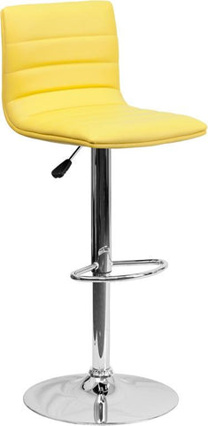 Flash Furniture CH-92023-1-YEL-GG Contemporary Yellow Vinyl Adjustable Height Bar Stool with Chrome Base - Peazz Furniture